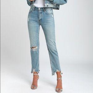 Free People Distressed Straight-Leg Jeans